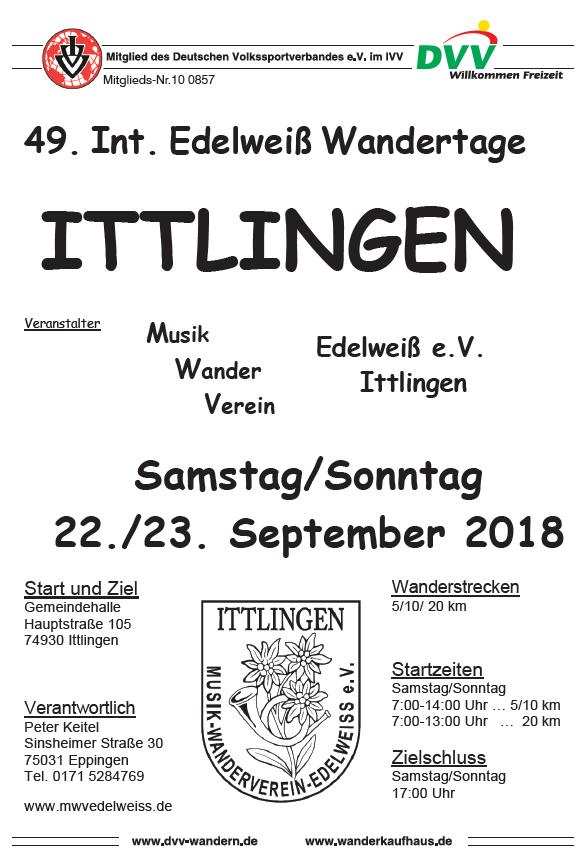 Wandertage Ittlingen 22./23.09.2018 - 49. Int. Edelweiß-Wandertage