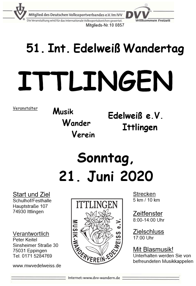 51. Int. Edelweiß-Wandertage in Ittlingen mit Sommerfest